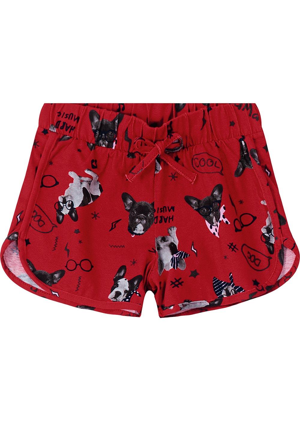 Shorts Infantil Feminino Vermelho Dog Frenchies - Malwee