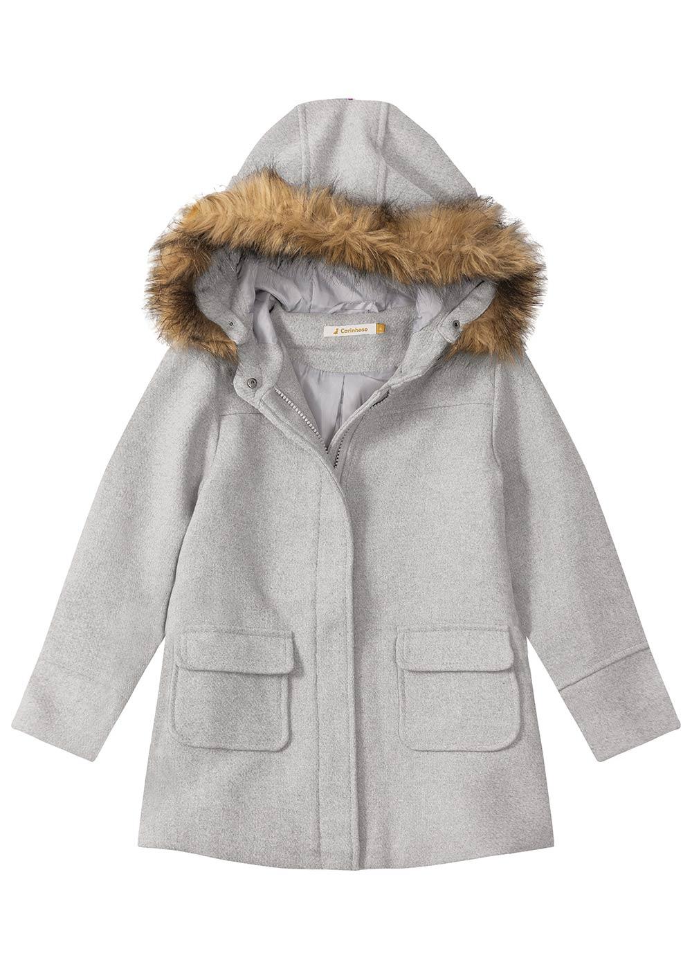 Sobretudo Infantil Feminino Inverno Cinza Capuz c/ Pelo Removível - Carinhoso