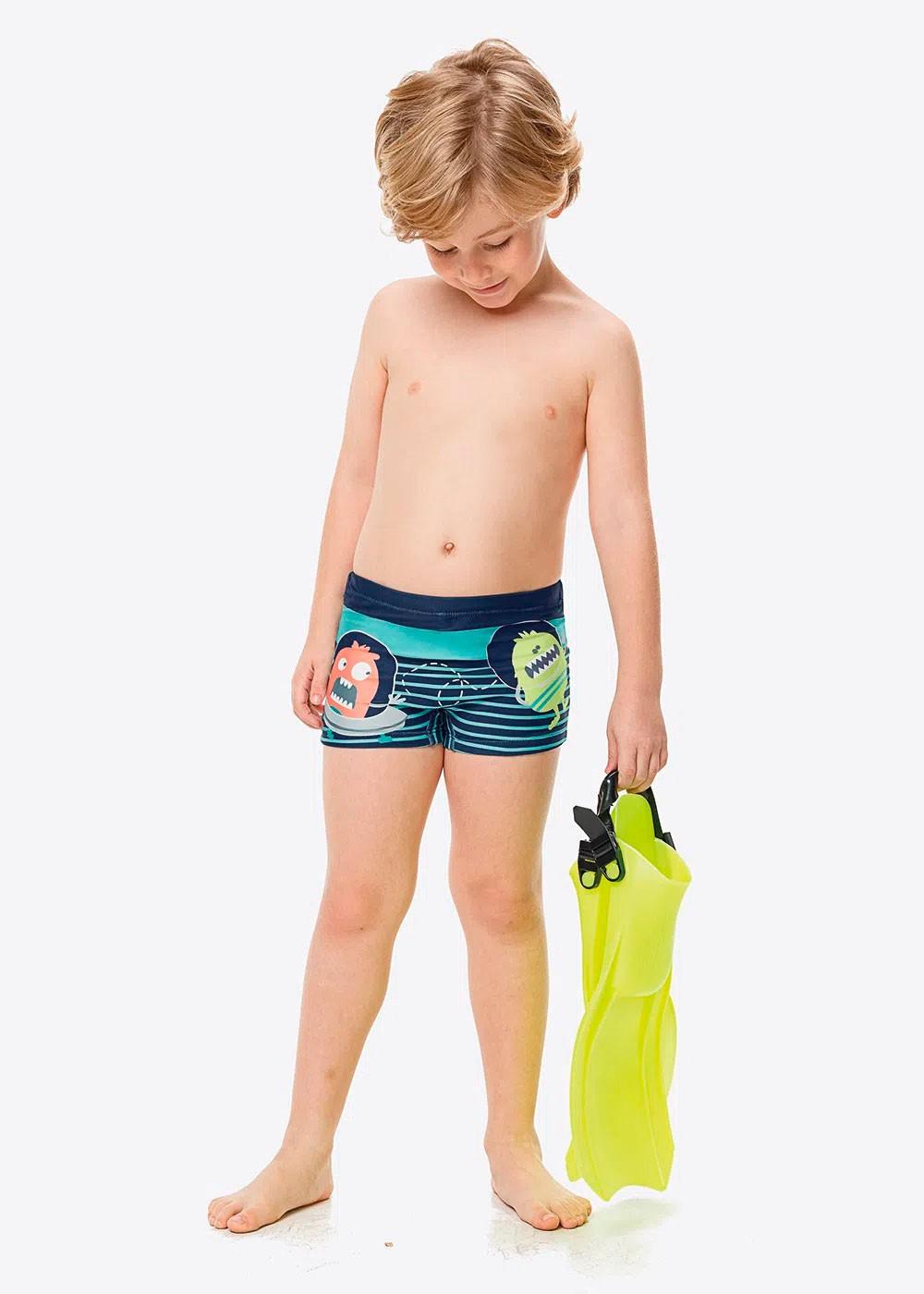 Sunga Boxer Infantil Verão Azul Alien Malwee