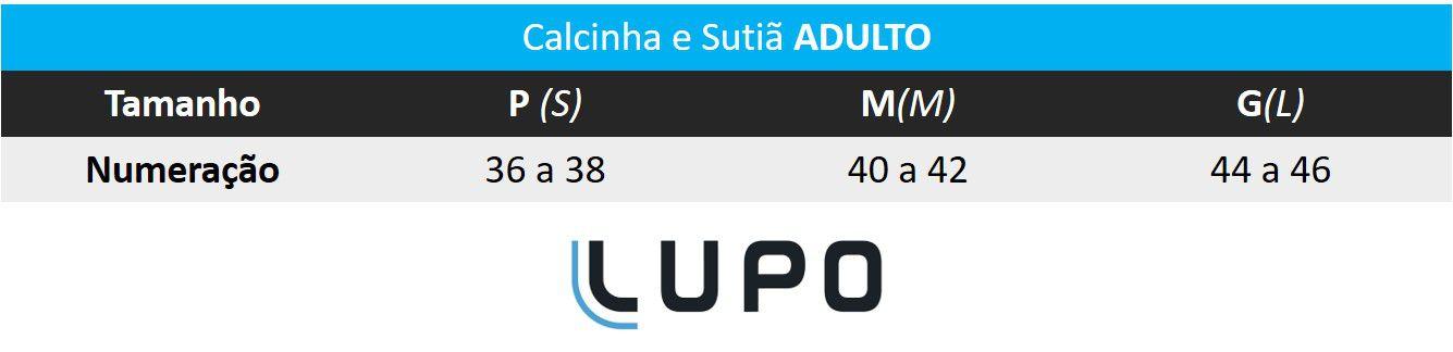 Sutiã ADULTO Preto Lupo: Tabela de medidas