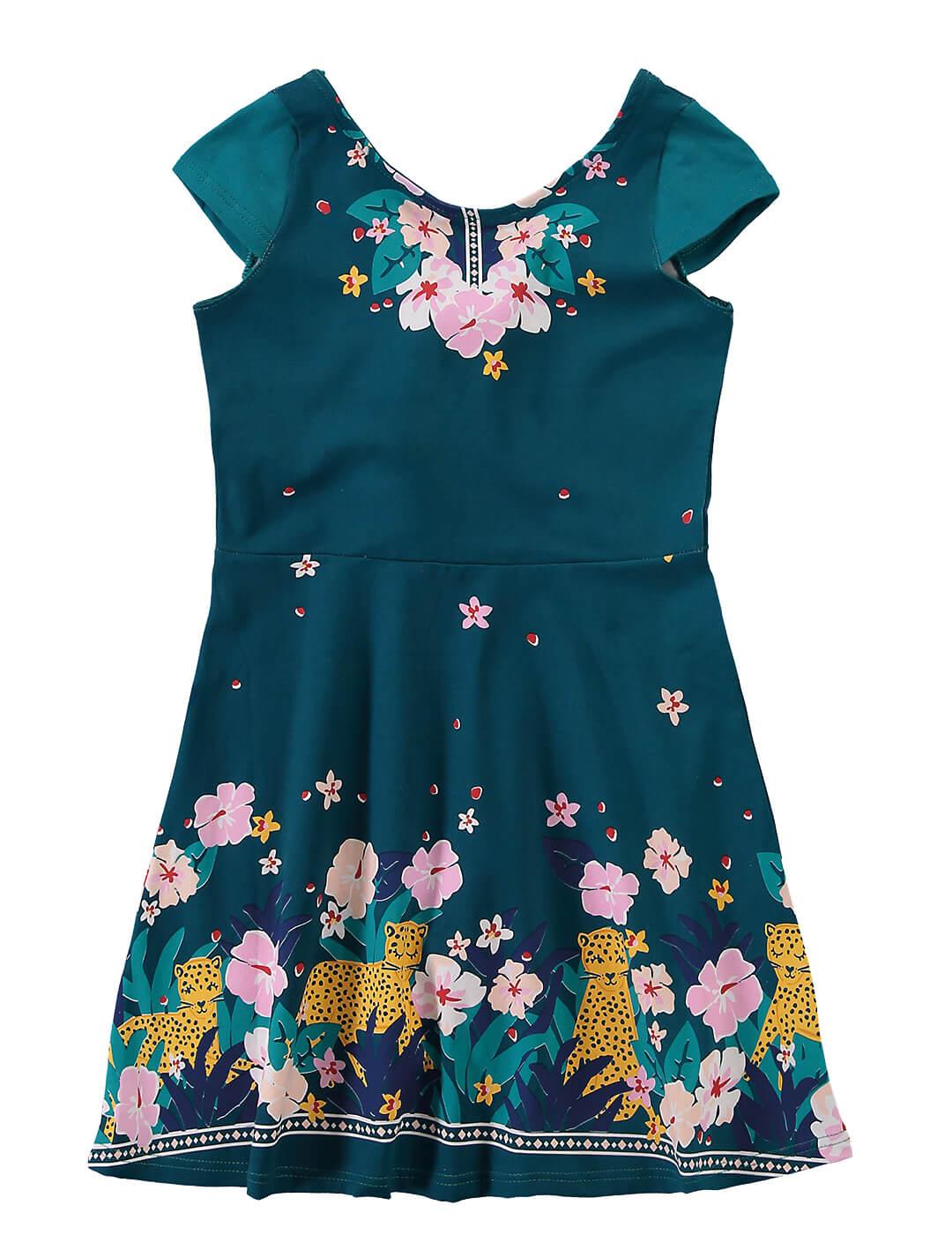 Vestido Infantil Verde Estampado - Malwee
