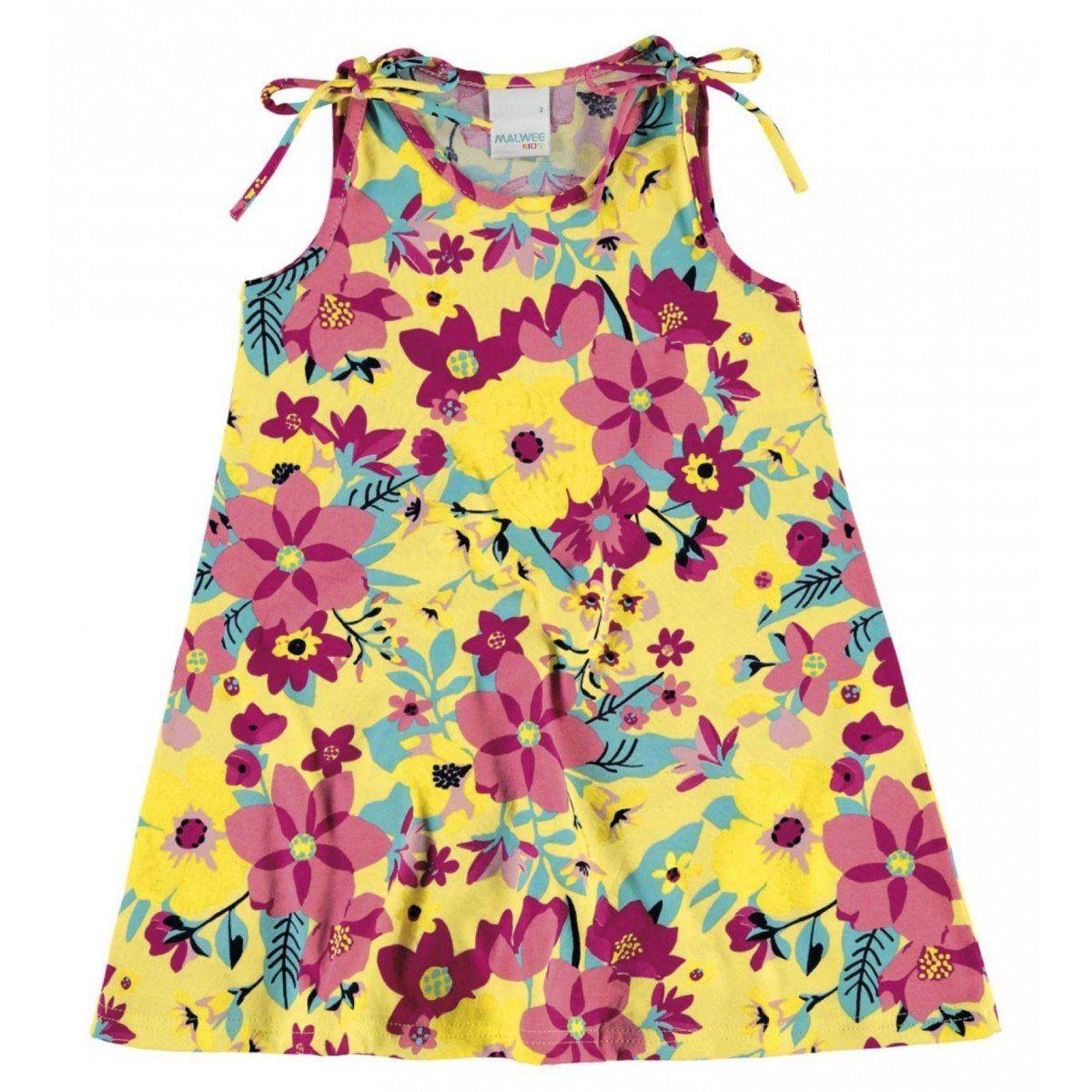 Vestido Infantil Amarelo Flores Malwee
