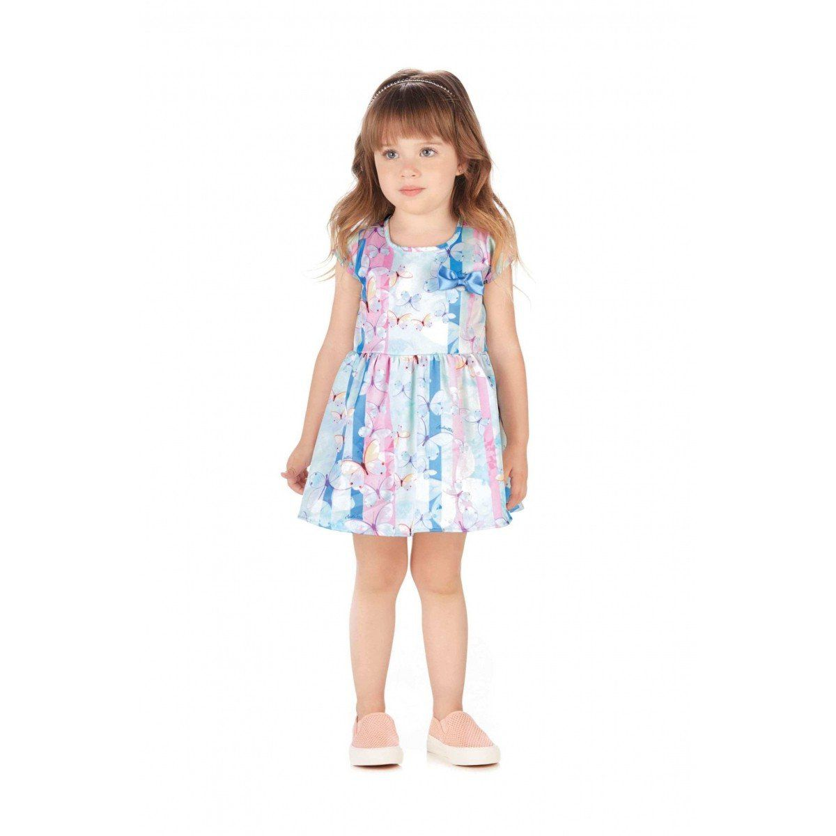 Vestido Infantil Azul Borboletas Colorittá