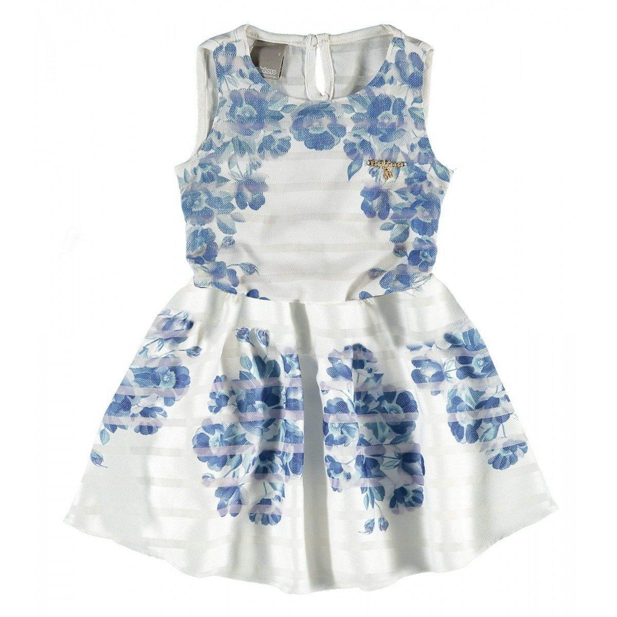 Vestido Infantil Azul Floral Carinhoso