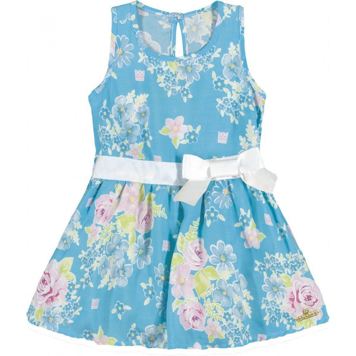 Vestido Infantil Azul Floral Colorittá