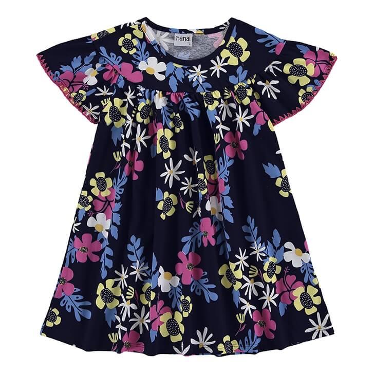 Vestido Infantil Azul Marinho 100% Algodão - Nanai