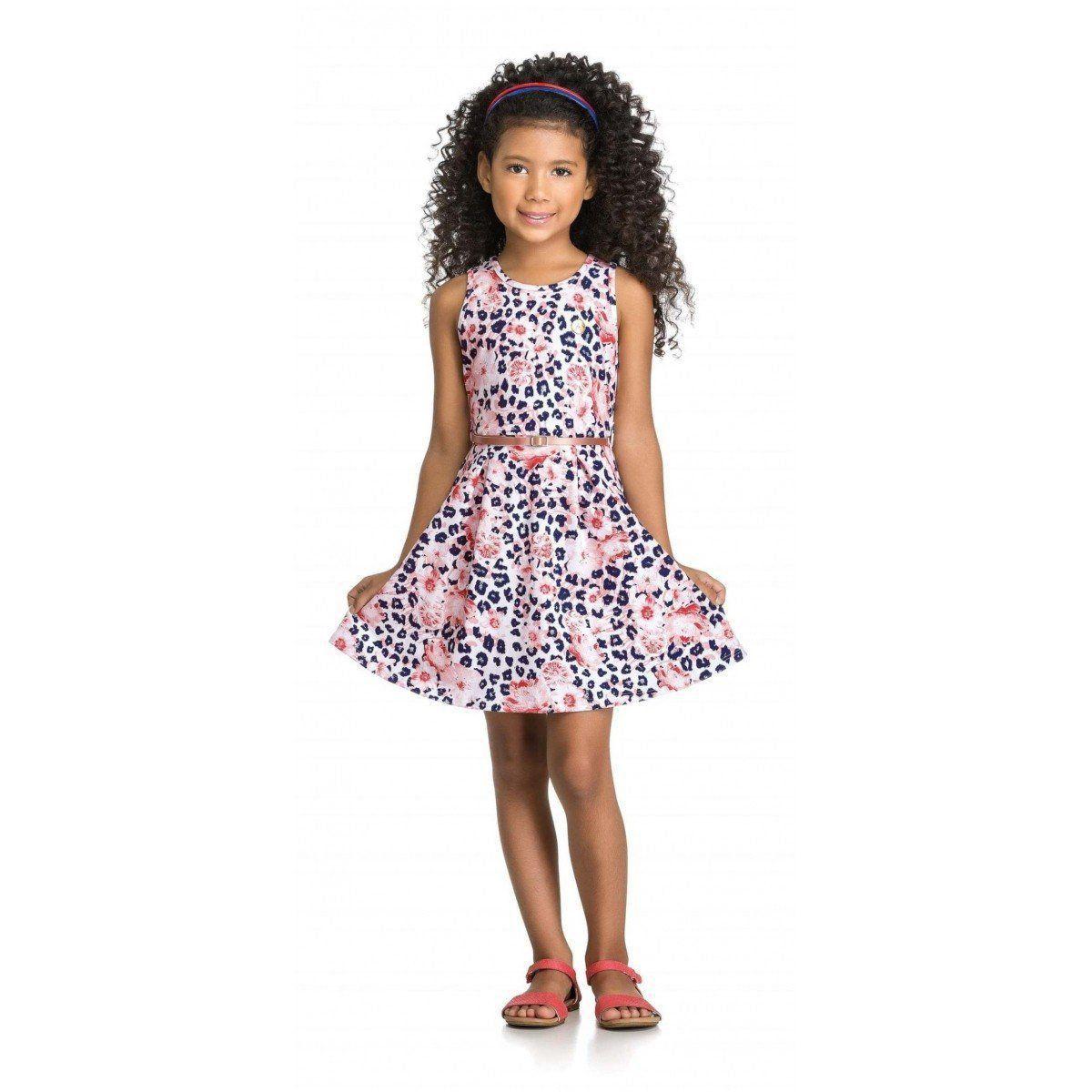 Vestido Infantil Azul Onça Elian