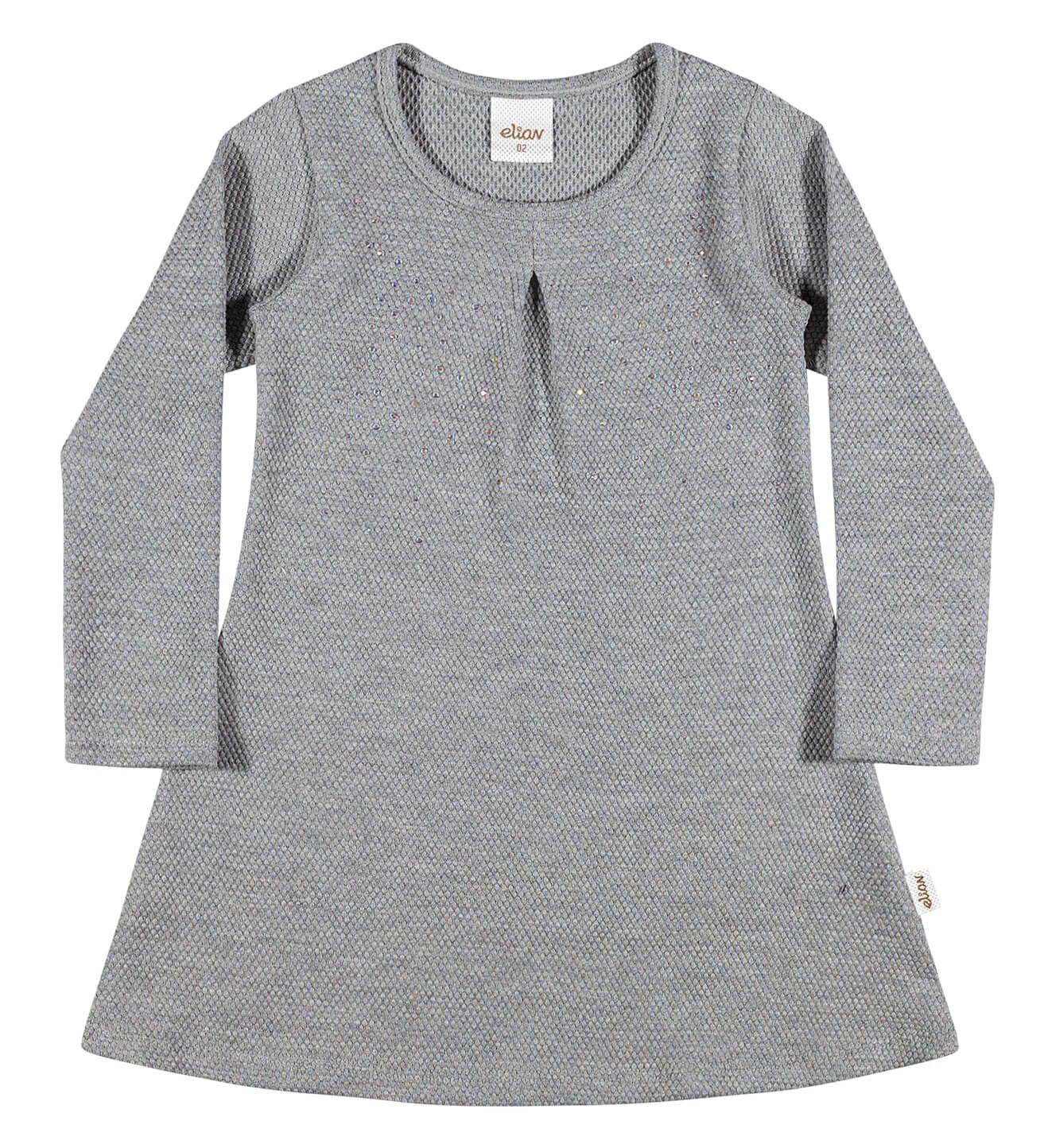 48f558f36 Vestido Infantil Feminino Cinza Inverno Elian | Armário Infantil