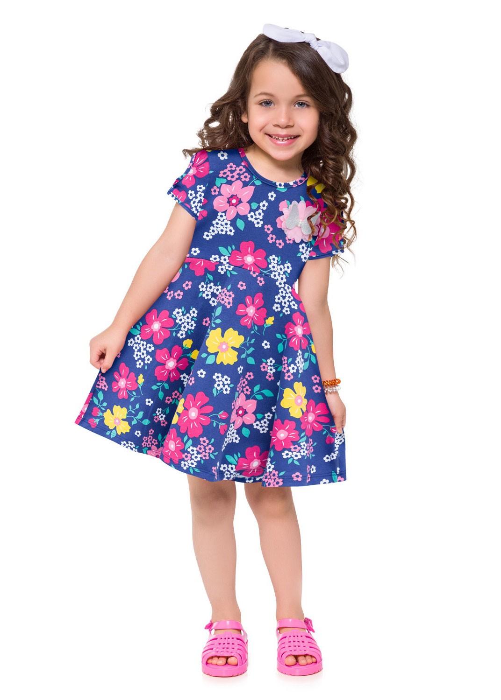 Vestido Infantil com Máscara Azul Mônaco - Kyly