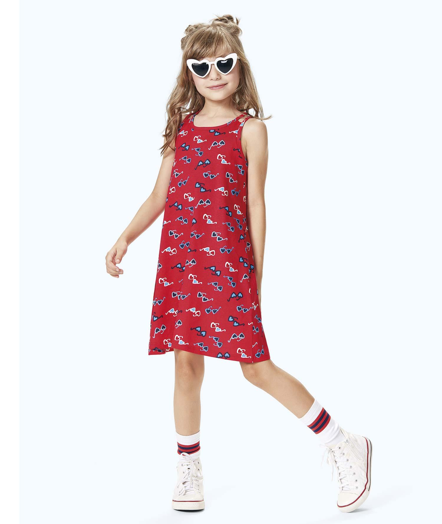 Vestido Infantil Verão Vermelho Glasses Malwee