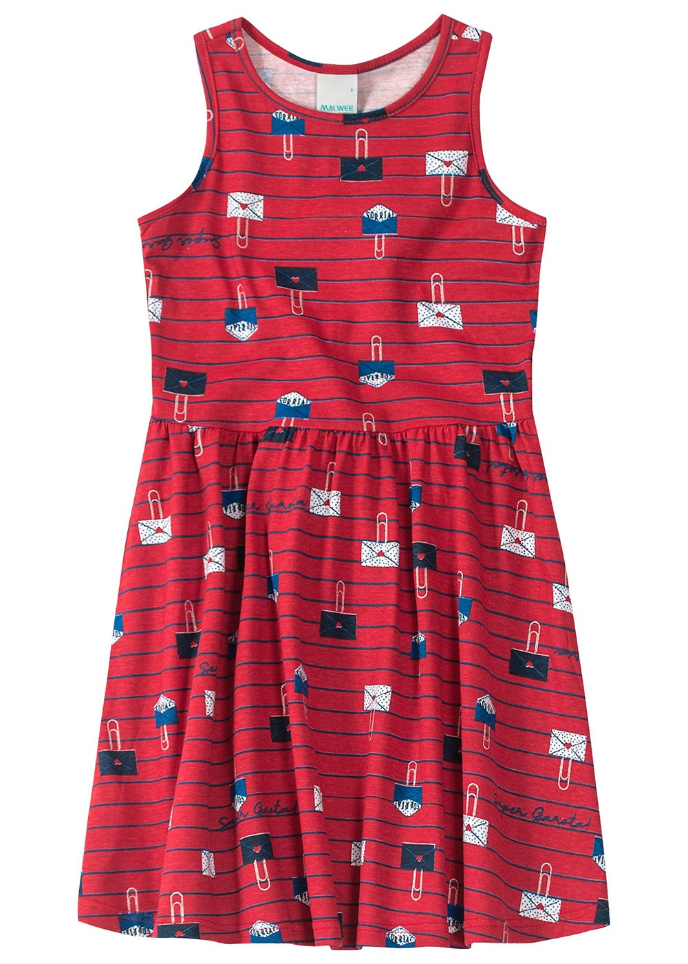 Vestido Infantil Vermelho Cartinha - Malwee
