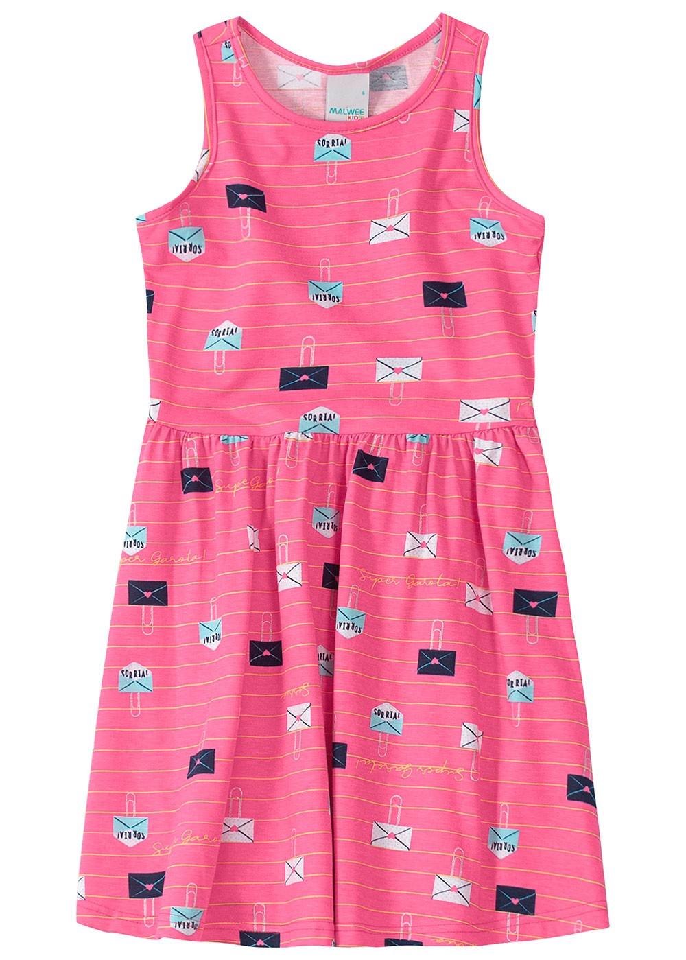 Vestido Infantil Rosa Cartinha - Malwee