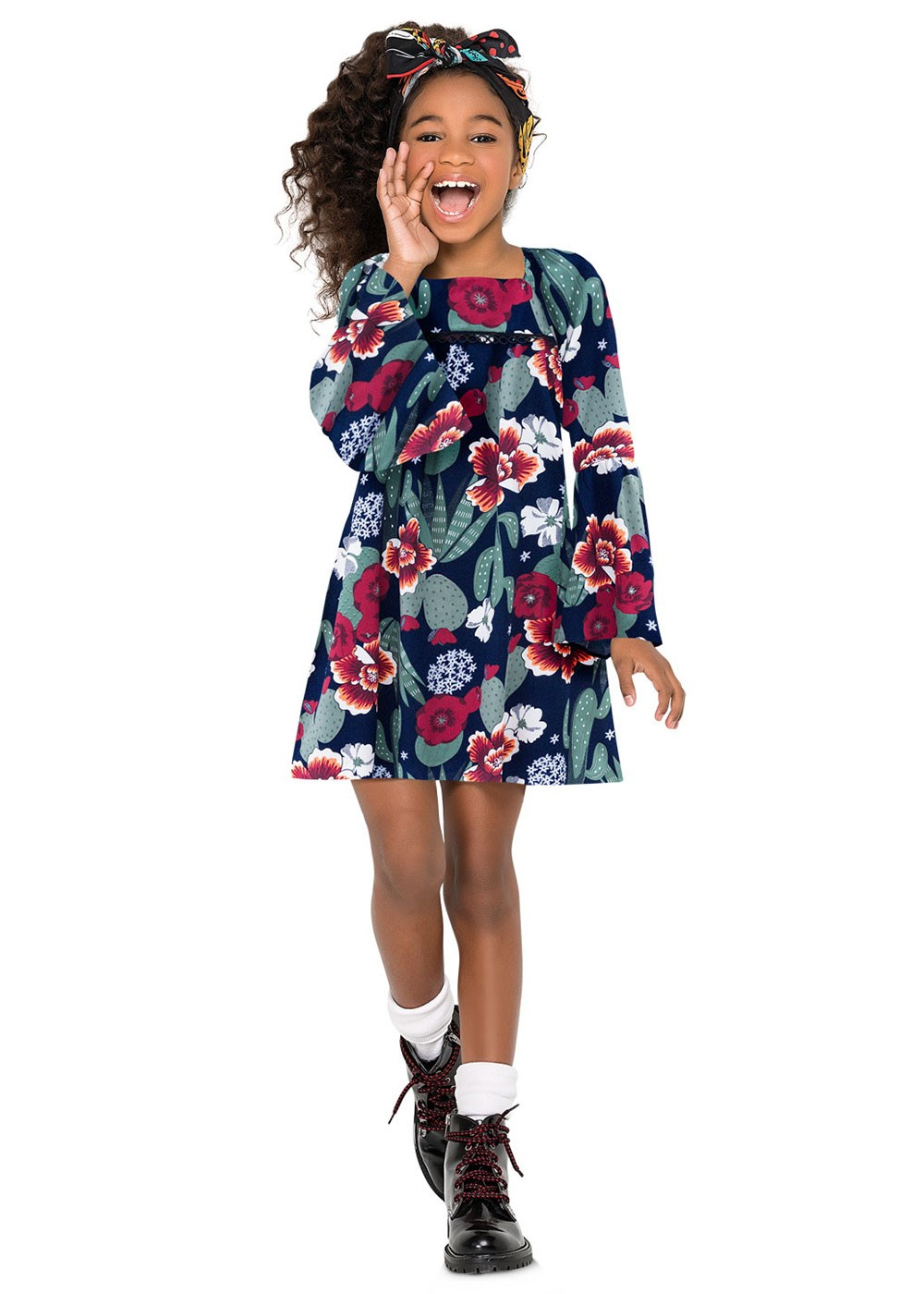 Vestido Infantil Feminino Azul Florido Inverno Nanai