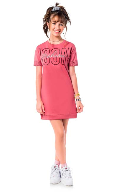 Vestido Infantil Verão Rosa Icon Amora