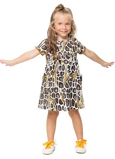 Vestido Infantil Verão Branco Giraffe Nanai