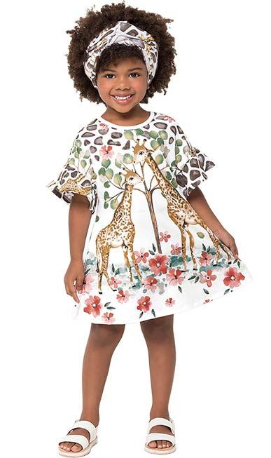 Vestido Infantil Verão Branco Jungle Nanai