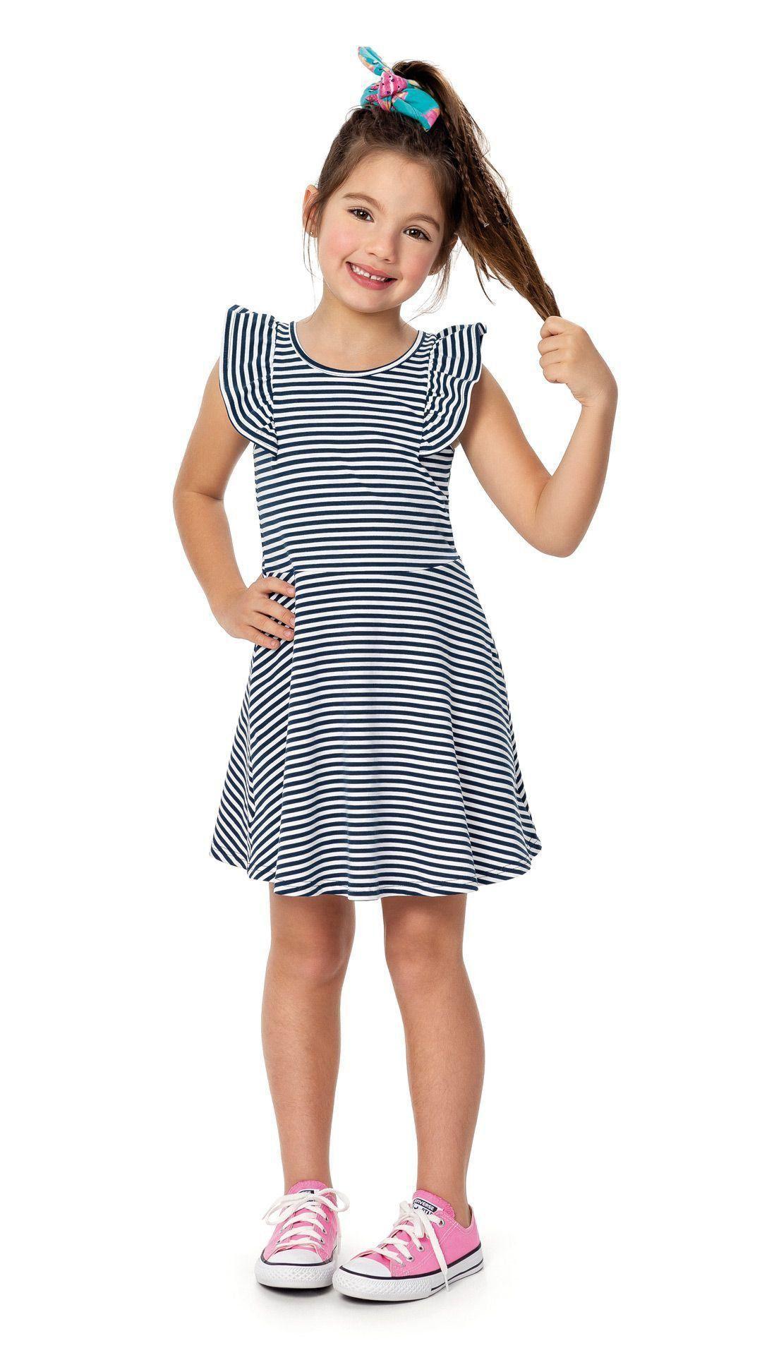 Vestido Infantil Azul Listrado Malwee