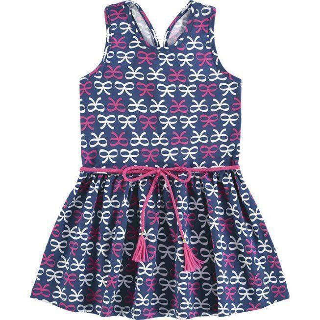 Vestido Infantil Azul Marinho Laço Kyly