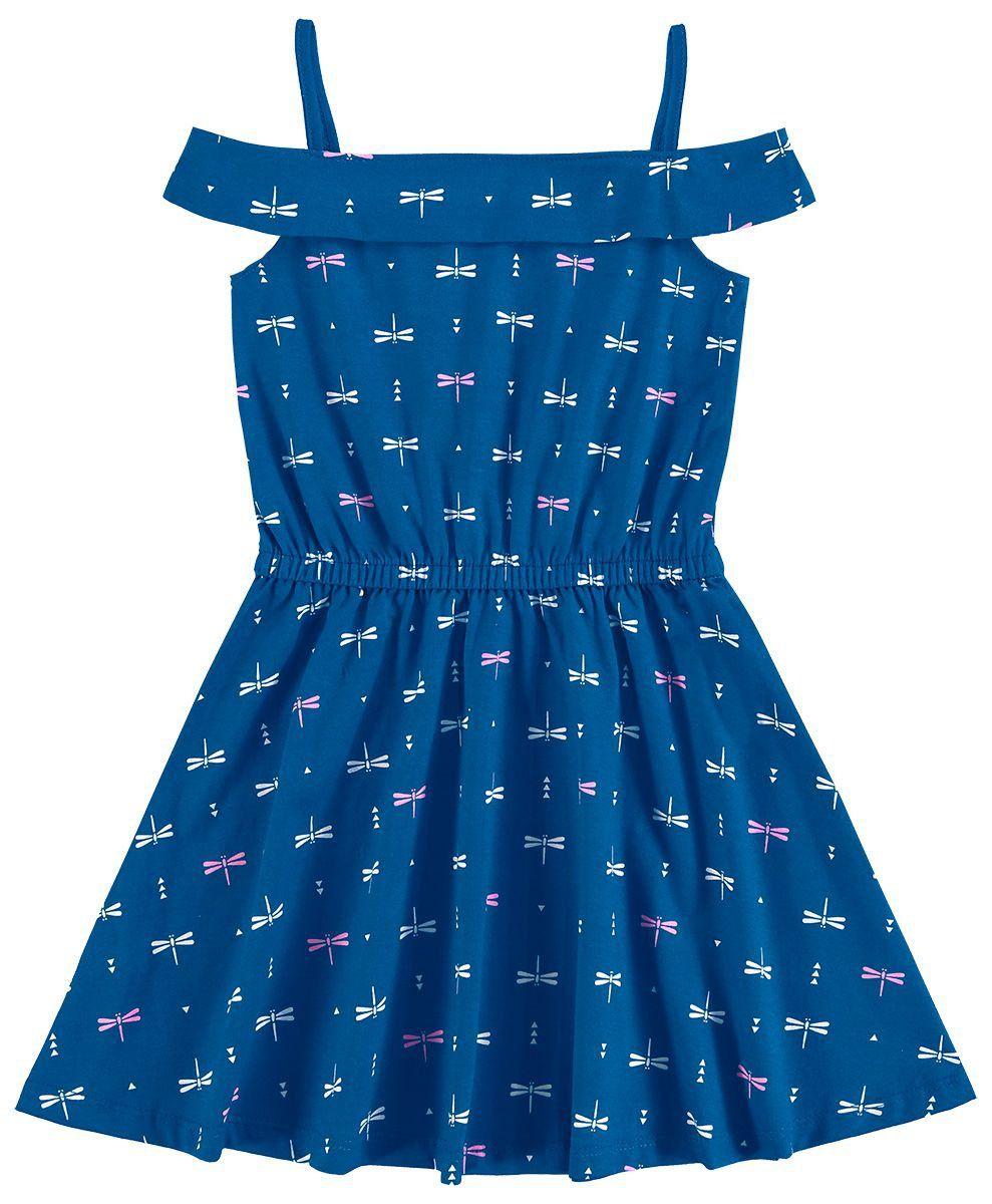 5f3335aa595721 Vestido Infantil Verão Azul Bichinhos Elian