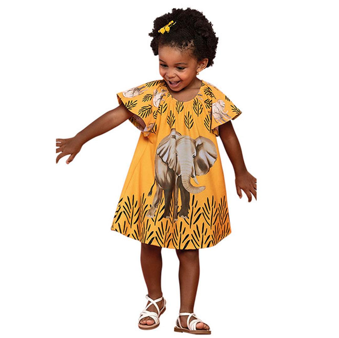 Vestido Infantil Curto Amarelo Elefante - Nanai
