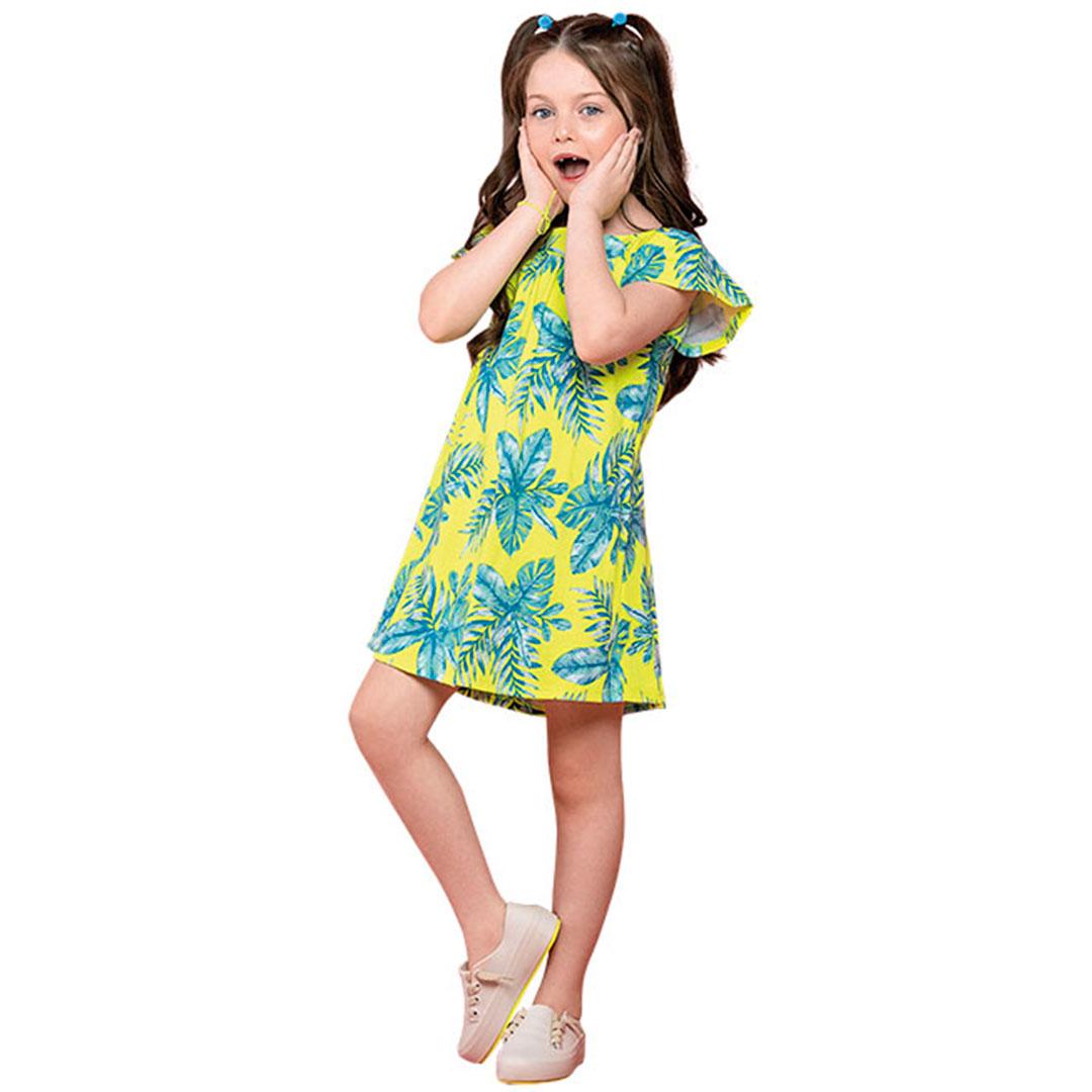 Vestido Infantil Curto Amarelo Neon Flores - Nanai