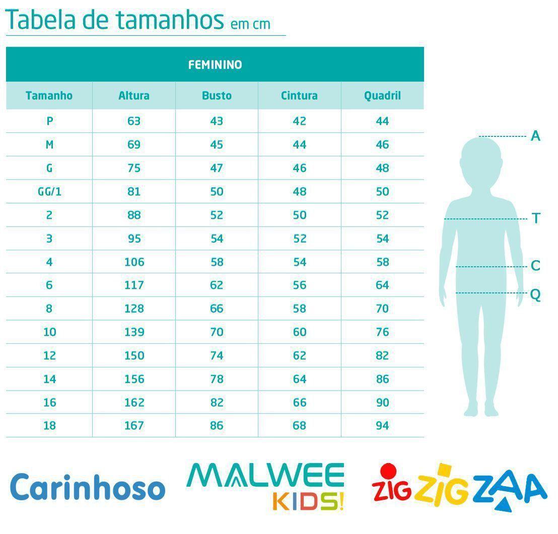Vestido Infantil Curto Azul Corações - Malwee: Tabela de medidas