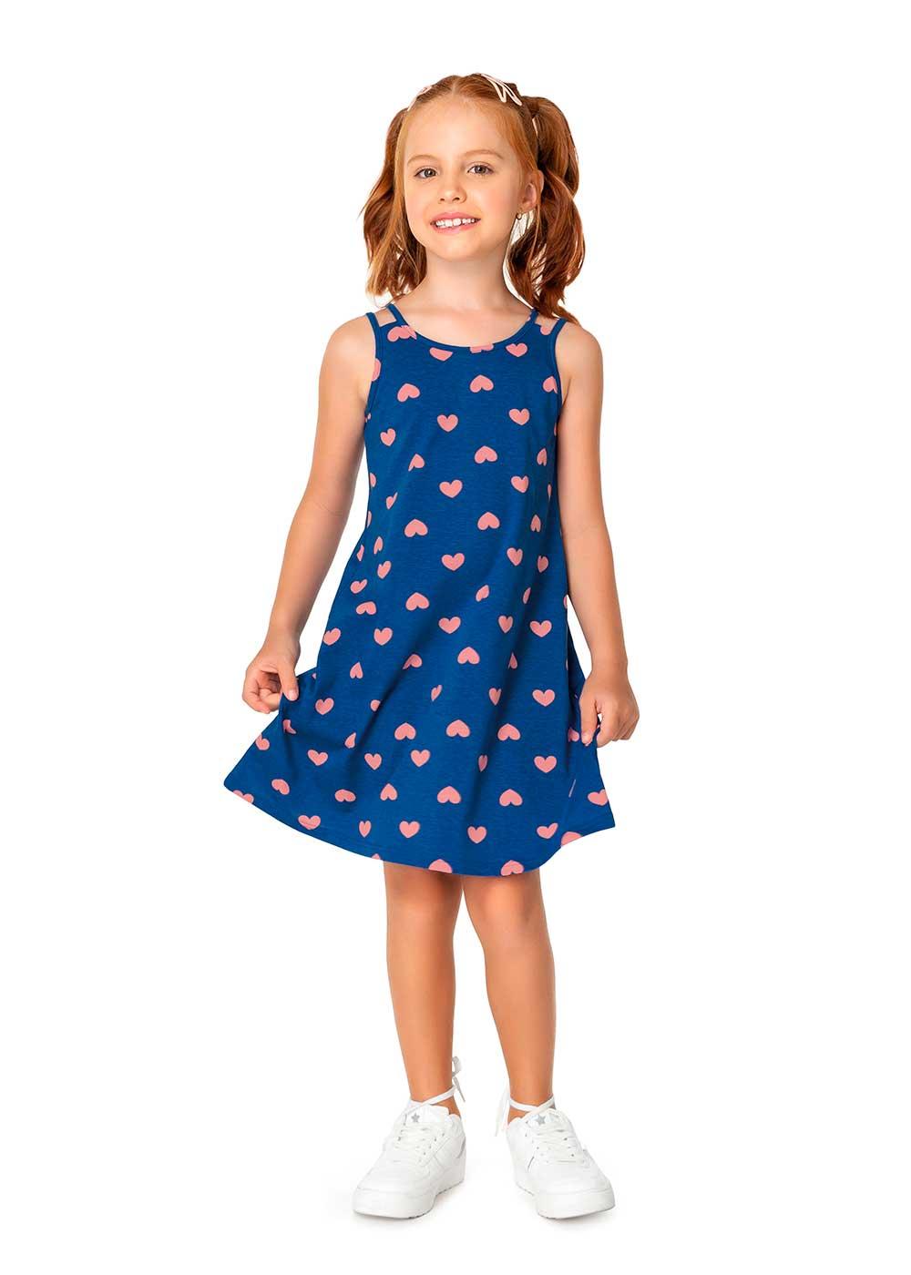 Vestido Infantil Curto Azul Corações - Malwee