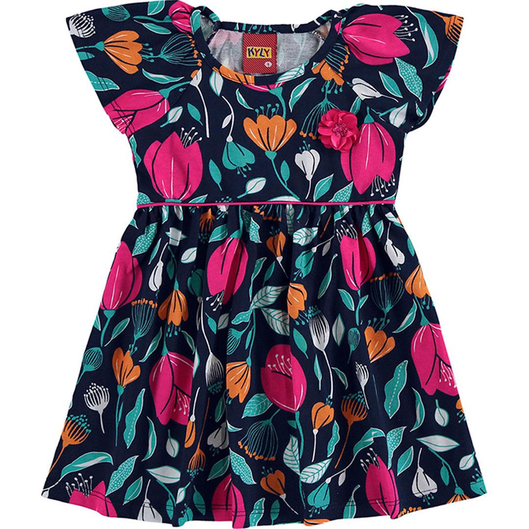 Vestido Infantil Curto Azul Flor - Kyly