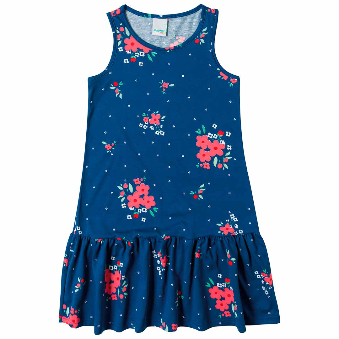 Vestido Infantil Malwee Curto Azul Flores
