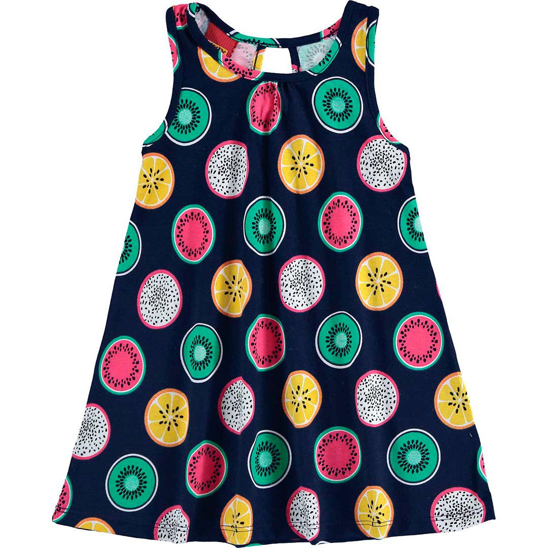 Vestido Infantil Curto Azul Frutas - Kyly