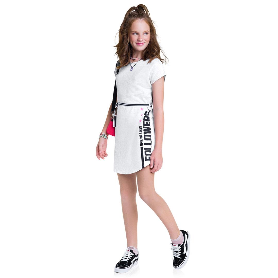 Vestido Infantil Curto Cinza Hey - Amora