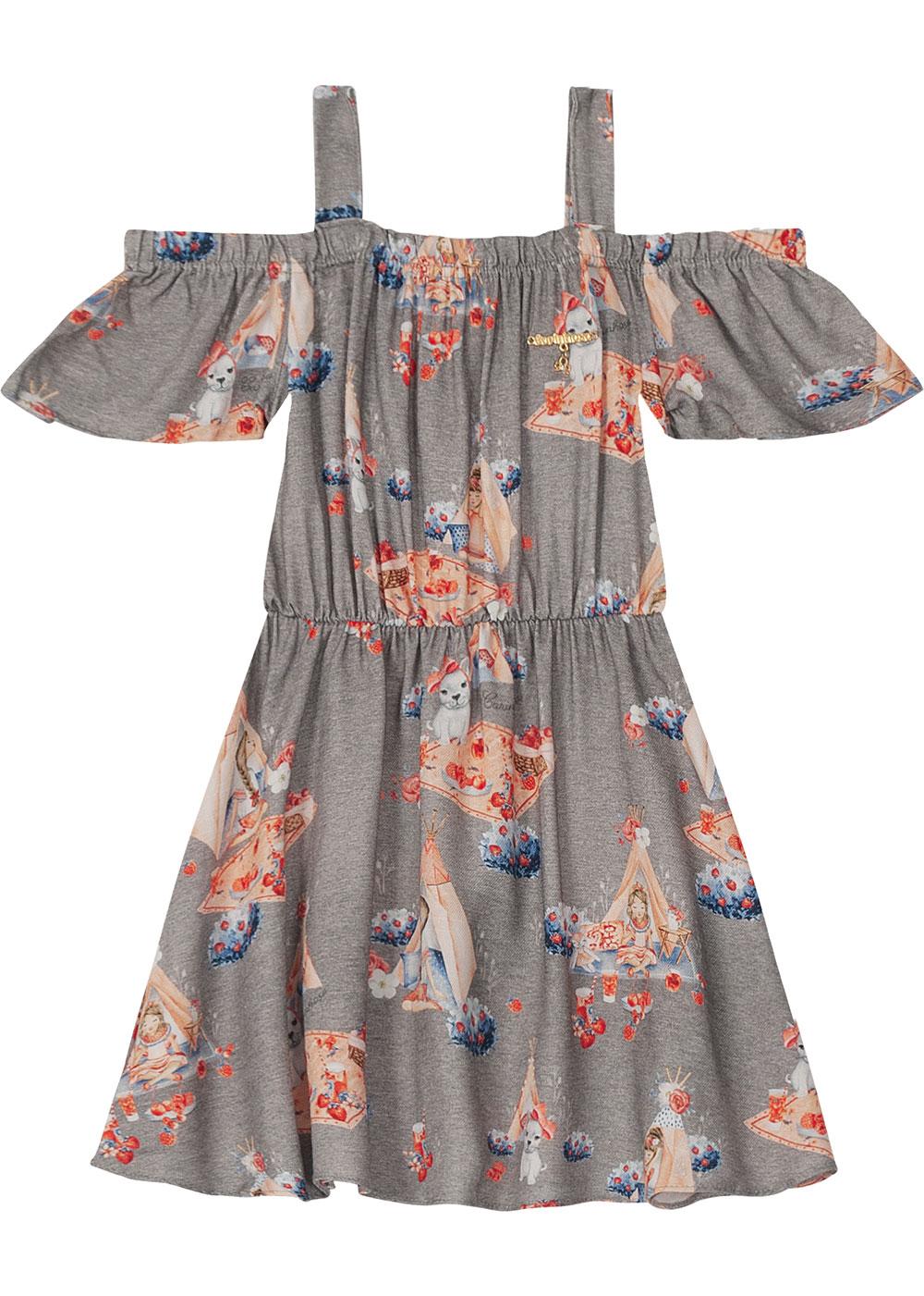 Vestido Infantil Curto Cinza Piquenique - Carinhoso