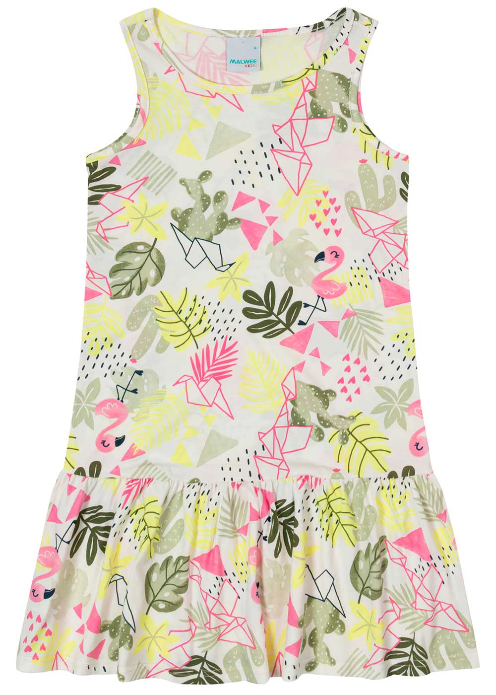 Vestido Infantil Curto Offwhite Flamingo - Malwee