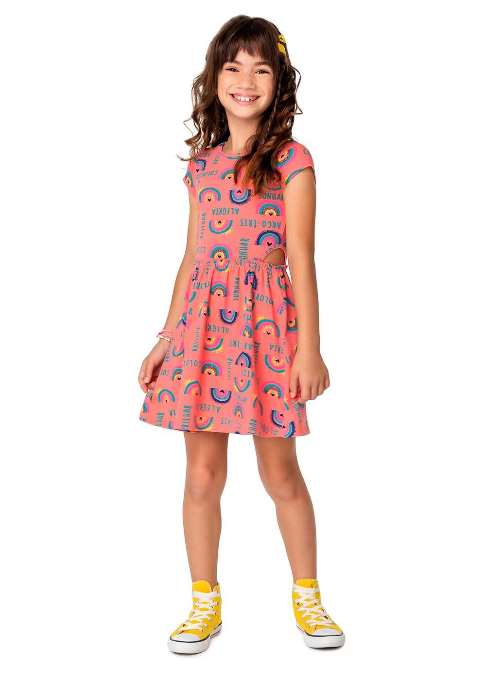 Vestido Infantil Curto Rosa Arco-Íris - Malwee