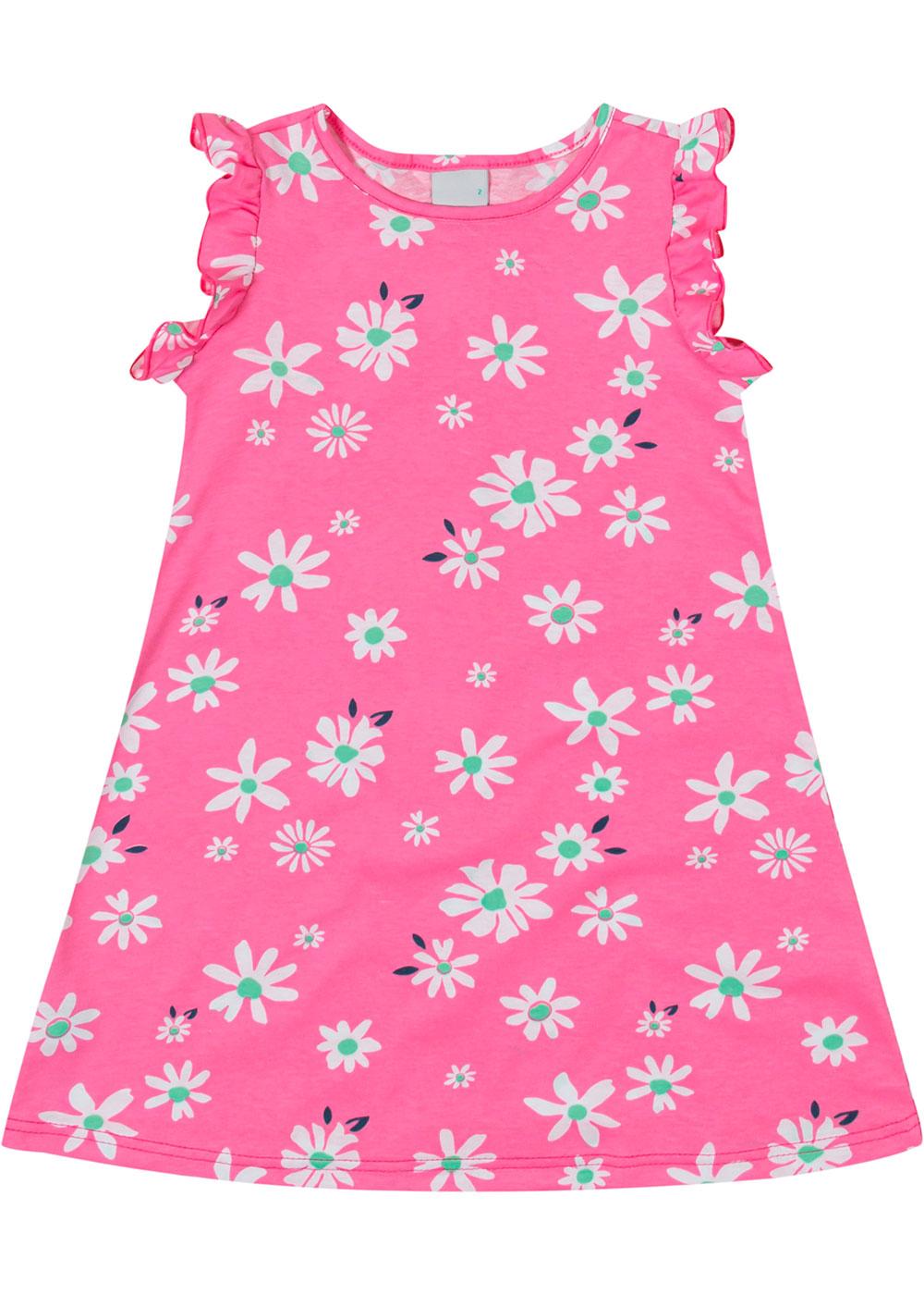Vestido Infantil Curto Rosa Flores - Malwee