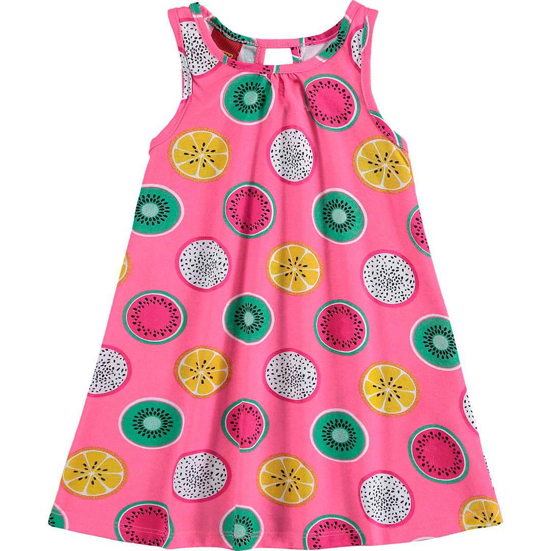 Vestido Infantil Curto Rosa Frutas - Kyly