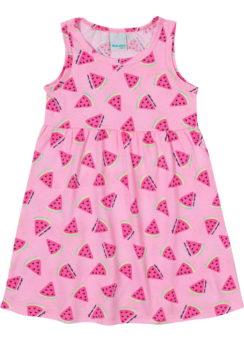 Vestido Infantil Curto Rosa Melancia - Malwee