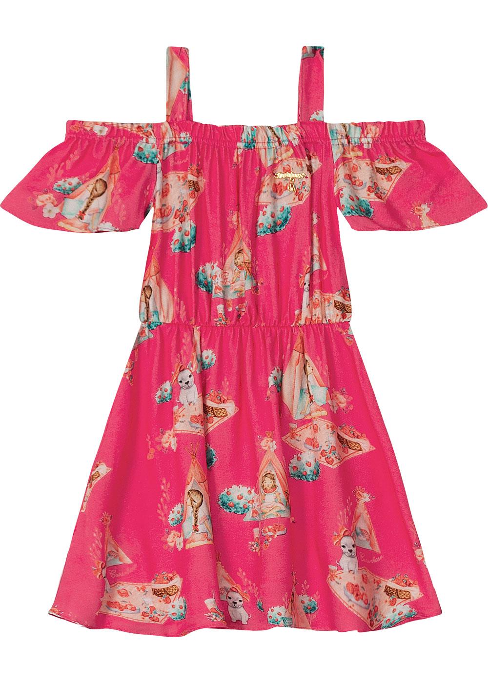 Vestido Infantil Curto Rosa Piquinique - Carinhoso