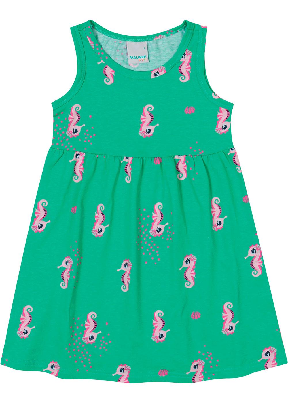 Vestido Infantil Curto Verde Cavalo Marinho - Malwee