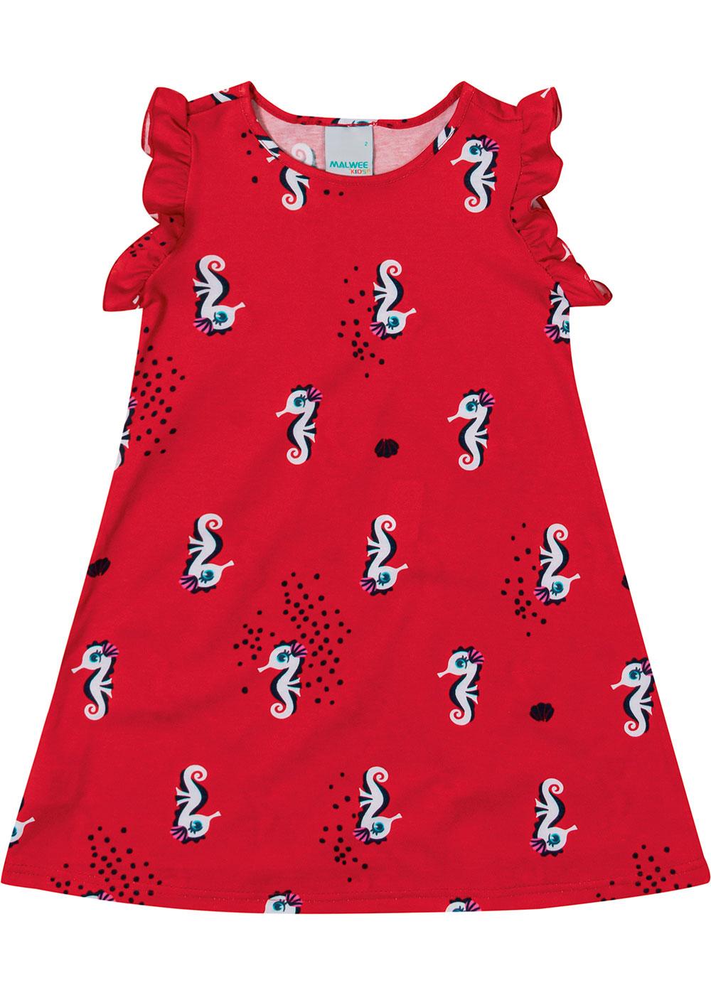 Vestido Infantil Curto Vermelho Cavalo Marinho - Malwee