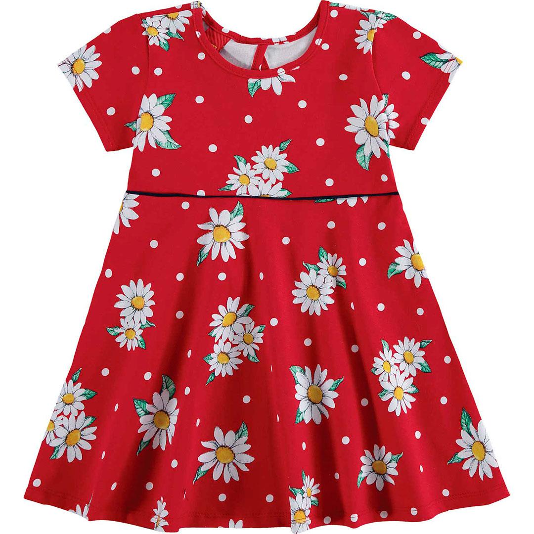 Vestido Infantil Curto Vermelho Margaridas - Kyly