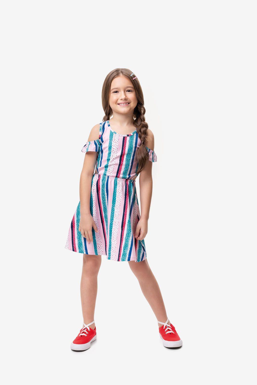 Vestido Infantil Feminina Verão Rosa Listras Malwee