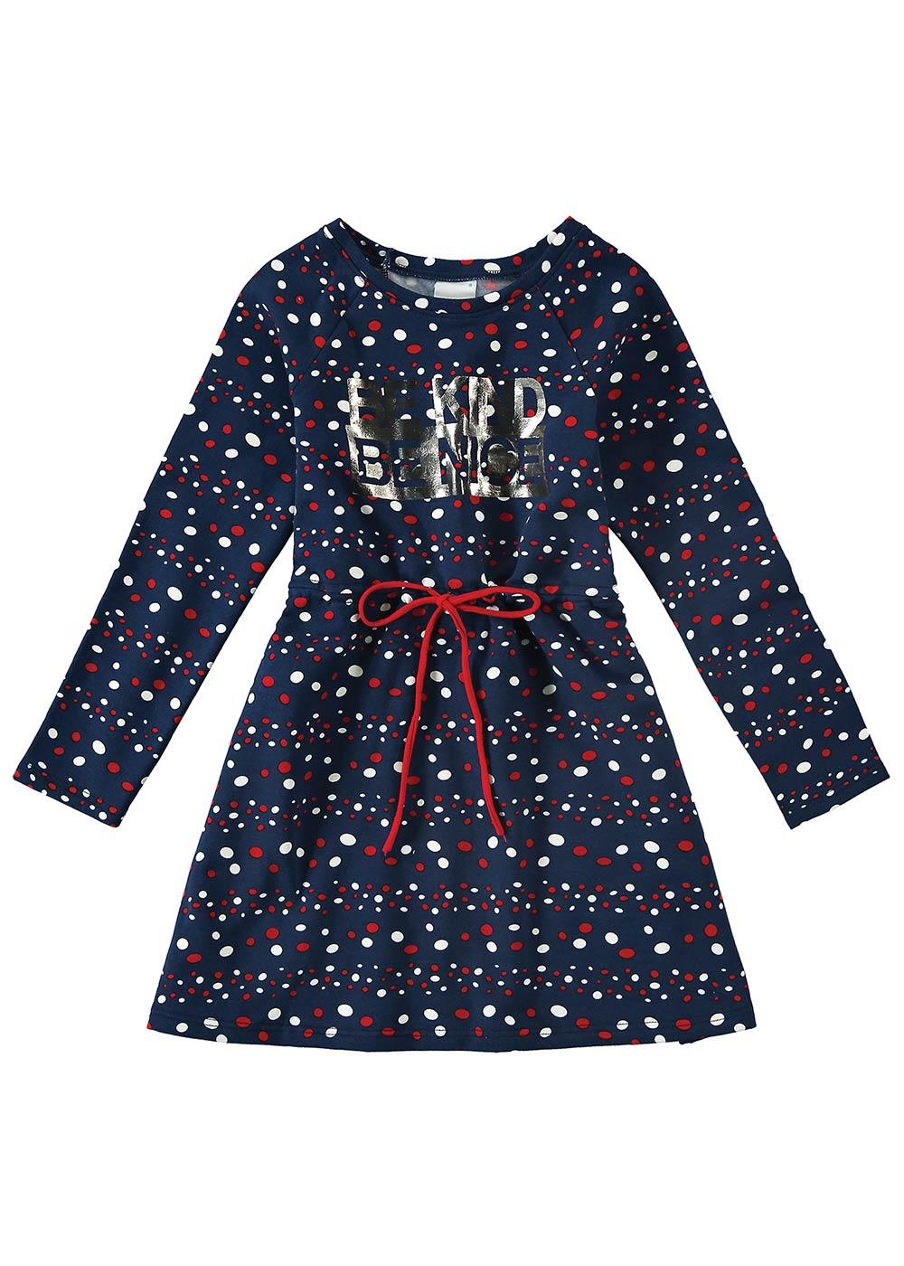 Vestido Inverno Infantil Feminino Azul Marinho Be Nice - Malwee