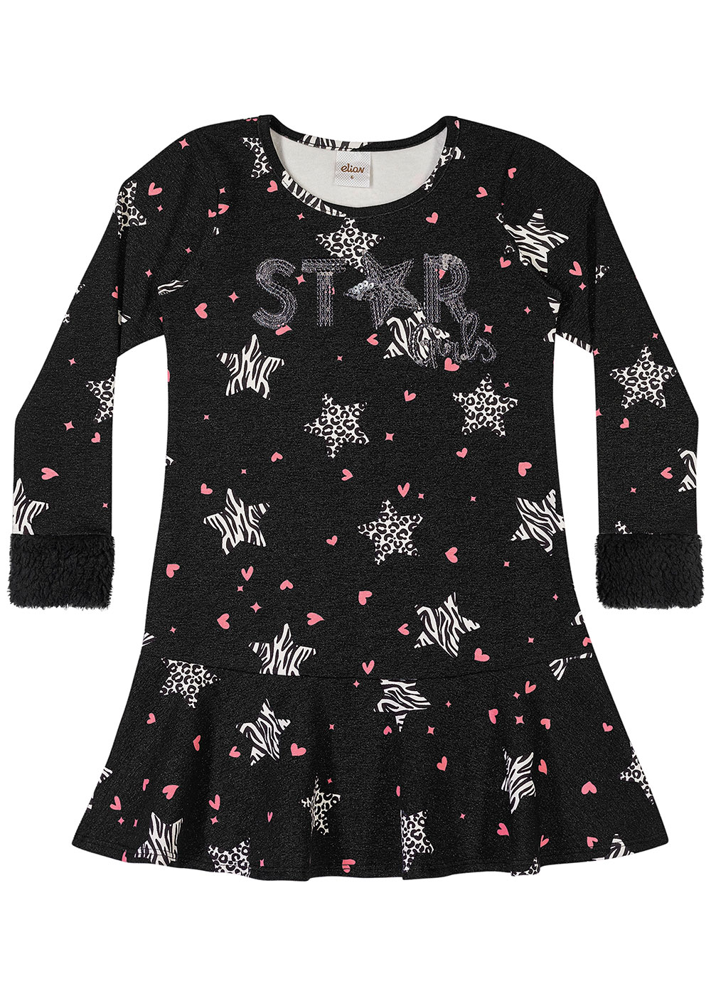 Vestido Infantil Feminino Inverno Cinza Stars - Elian