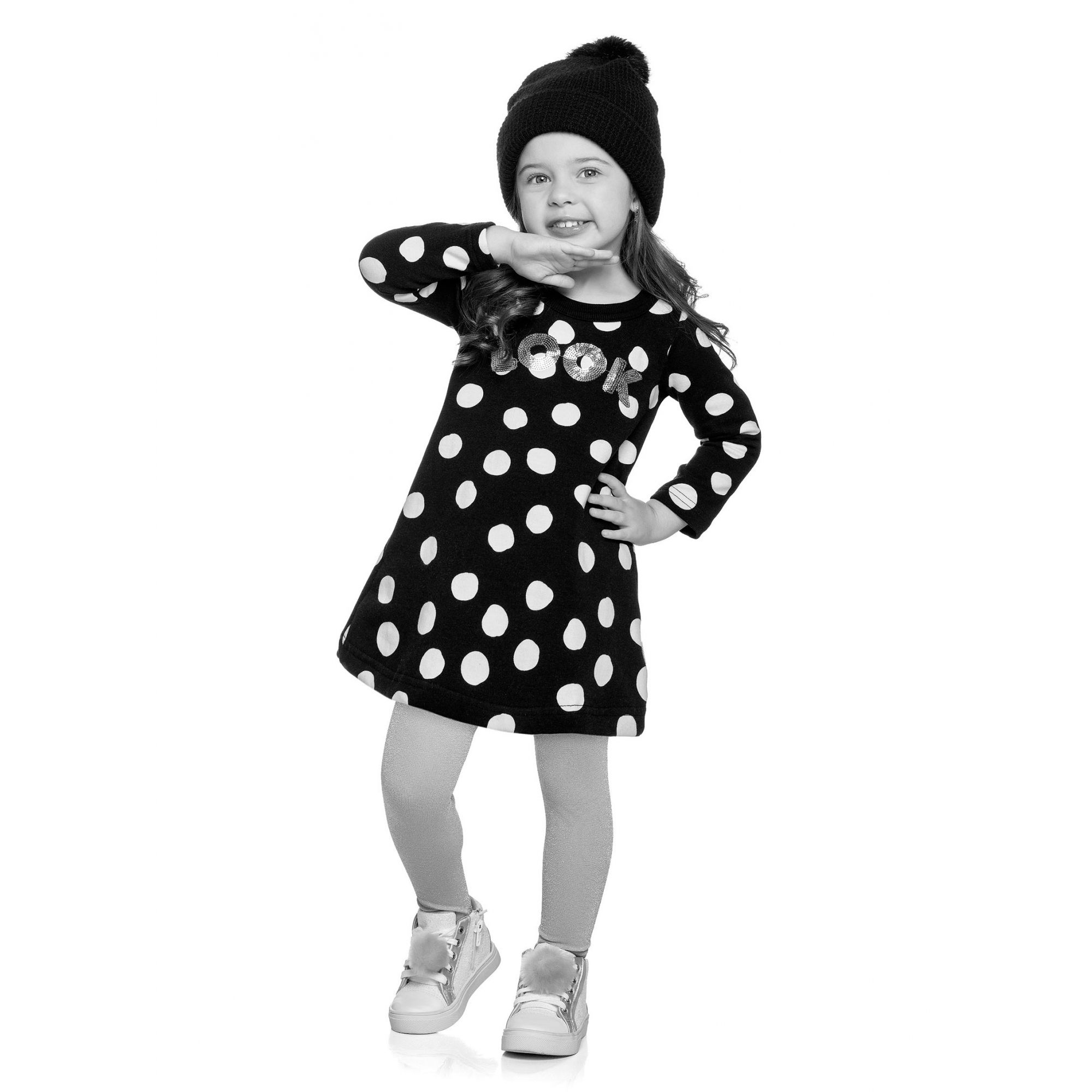 Vestido Infantil Inverno Cinza Mescla Look Elian
