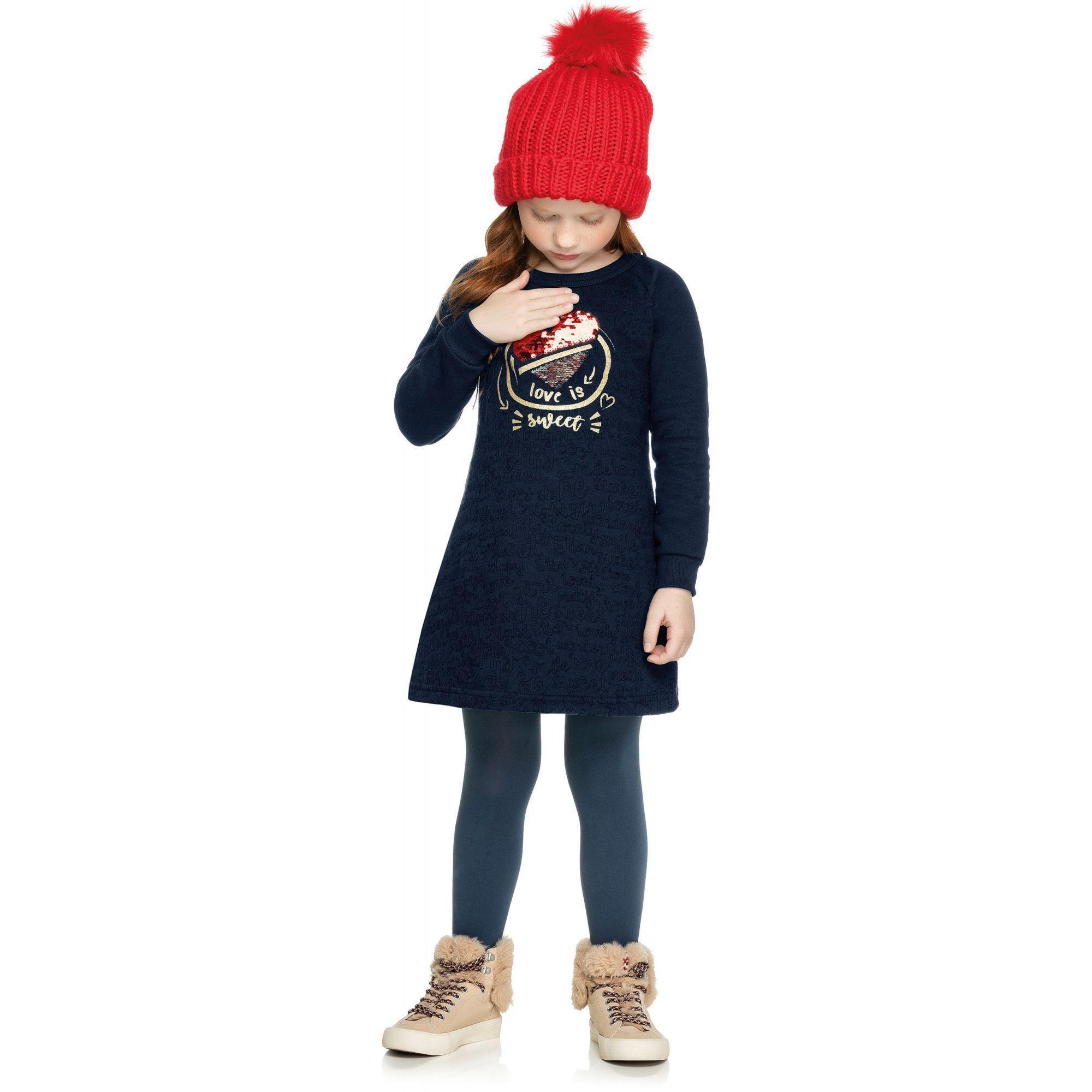 Vestido Infantil Inverno Marinho Love Elian