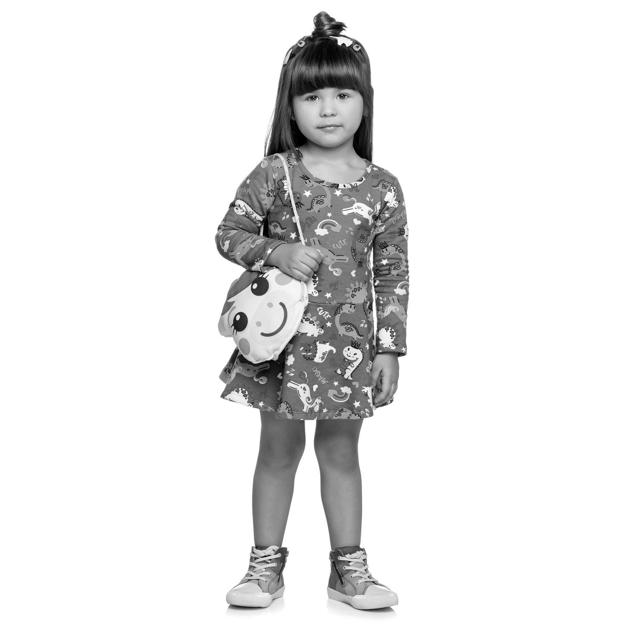 Vestido Infantil Inverno Marinho Unicórnio Elian