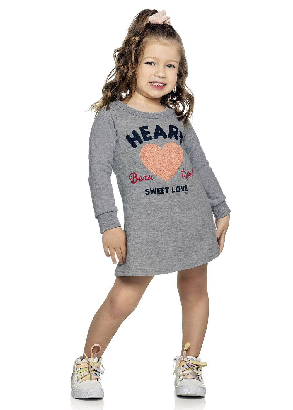 Vestido Infantil Inverno Mescla Heart Elian