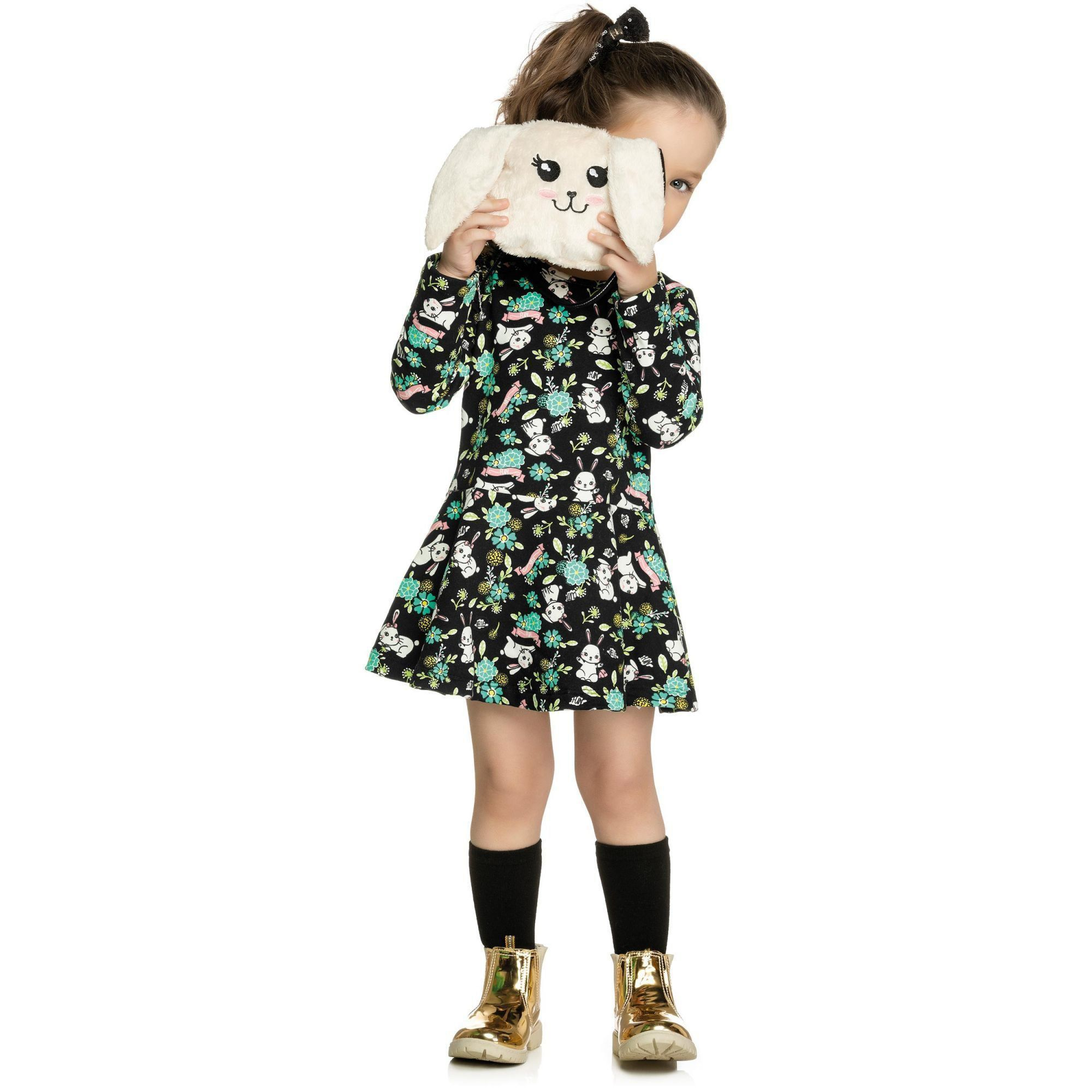 Vestido Infantil Inverno Preto Coelhinho Elian