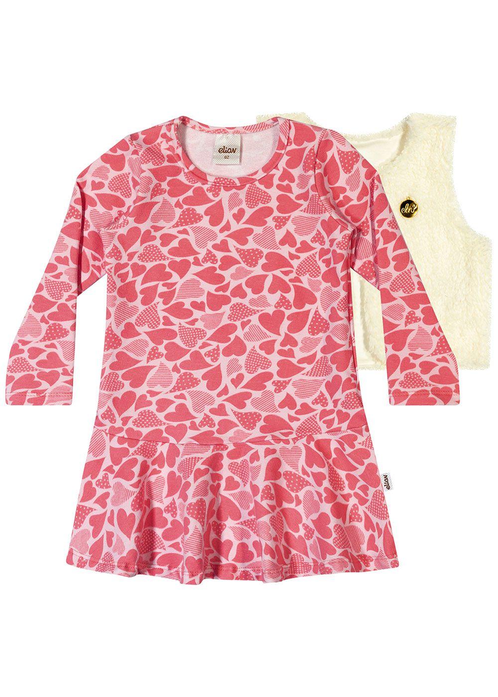 Vestido Infantil Inverno Rosa Coração Elian